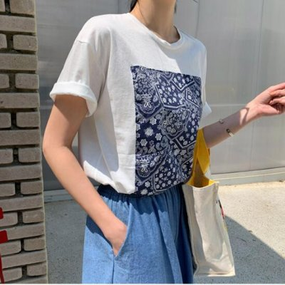 画像1: レディース春夏tシャツ 綿 ショート トップス 横柄 半袖 シンプル ゆったり 薄地 日常用 外出 旅行 通学 通勤 人気
