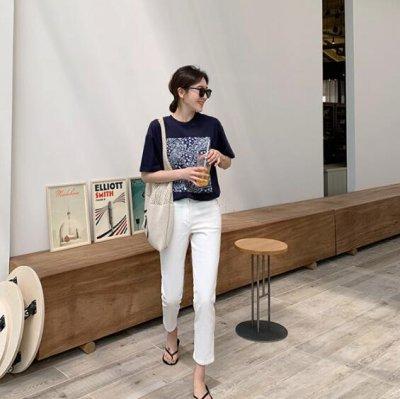 画像3: レディース春夏tシャツ 綿 ショート トップス 横柄 半袖 シンプル ゆったり 薄地 日常用 外出 旅行 通学 通勤 人気